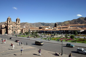 Main Square of Cusco. City tour in Cusco Peru.