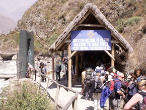 Inca Trail Entrance and bridge. Hike to Machu Picchu