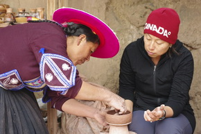 Ceramic Work with a tourist at Raqchi, Cusco Puno tours
