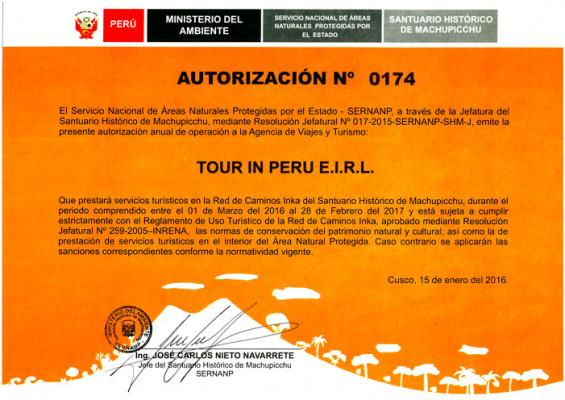 Autorización SERNANP para TOURinPERU