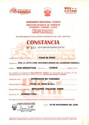 Constancia OFICIAL de DIRCETUR para TOURinPERU