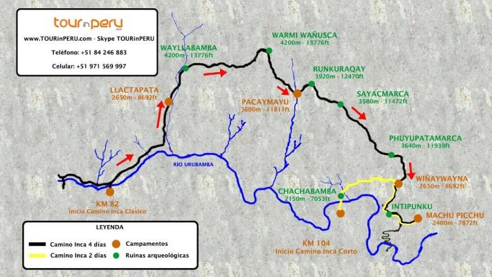 Mapa de las rutas del Camino Inca a Machu Picchu